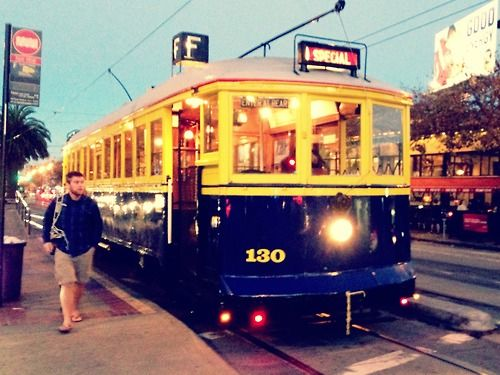 Muni streetcar no. 130 – built in 1914 – making its last stop at Noe & Market for the evening before heading home to the barn.