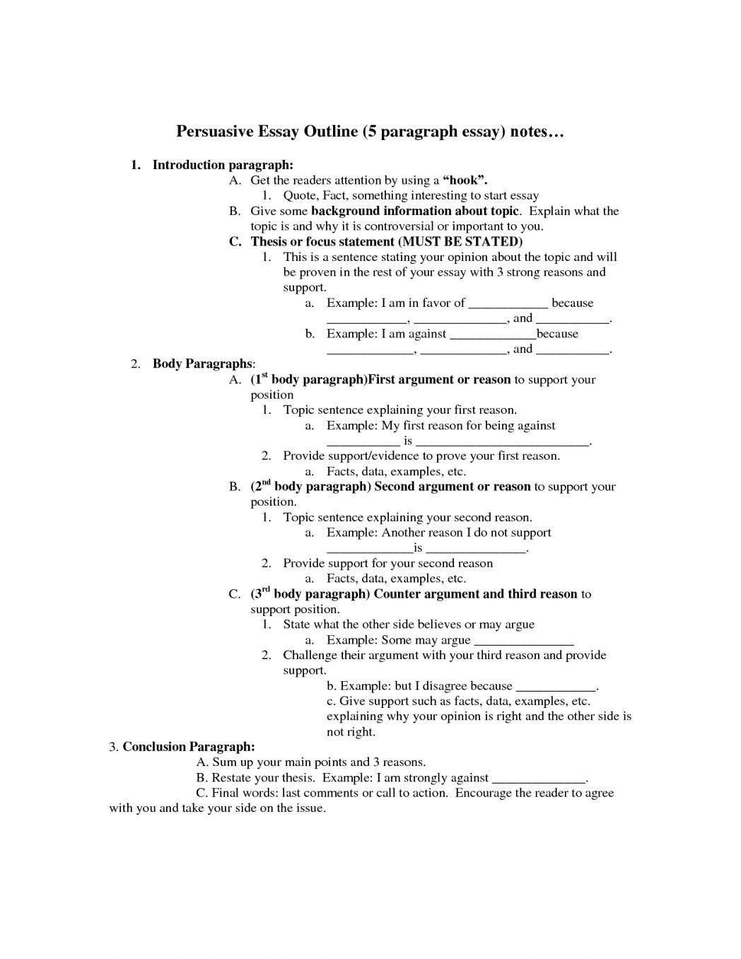 Persuasive Essay Outline Format Middle School 5th Grade