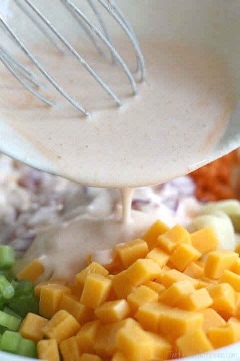 Buffalo Chicken Pasta Salad - Two Healthy Kitchens #buffalochickenpastasalad
