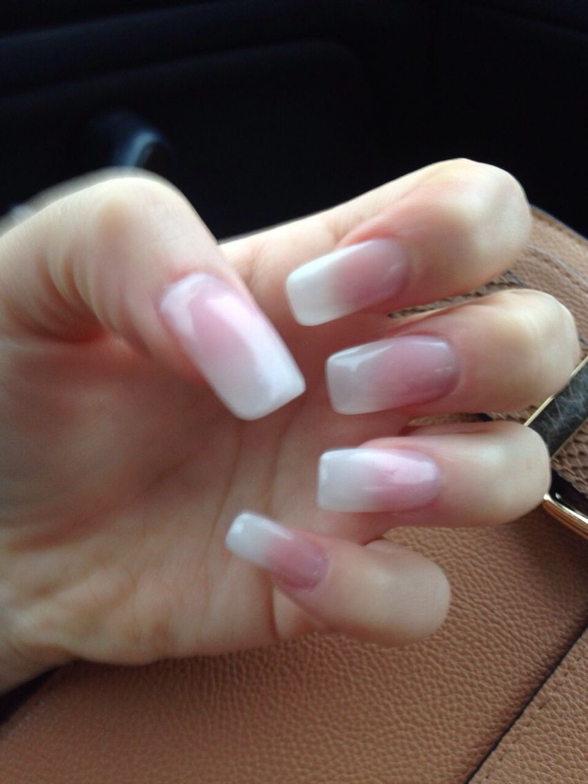 Square acrylic natural tips with totally clear and purely ...