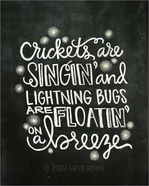 Chalkboard print digital file 8x10 lightning bugs for Fishing in the dark lyrics