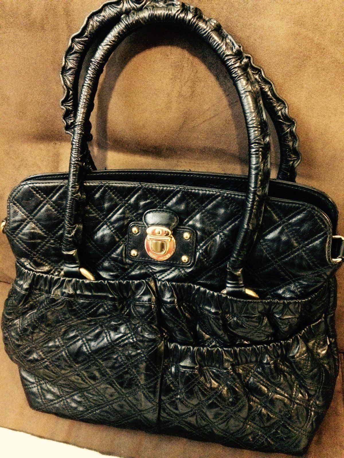 Auth Marc Jacobs Black Quilted Leather Shoulder Handbag Made In Italy Ebay