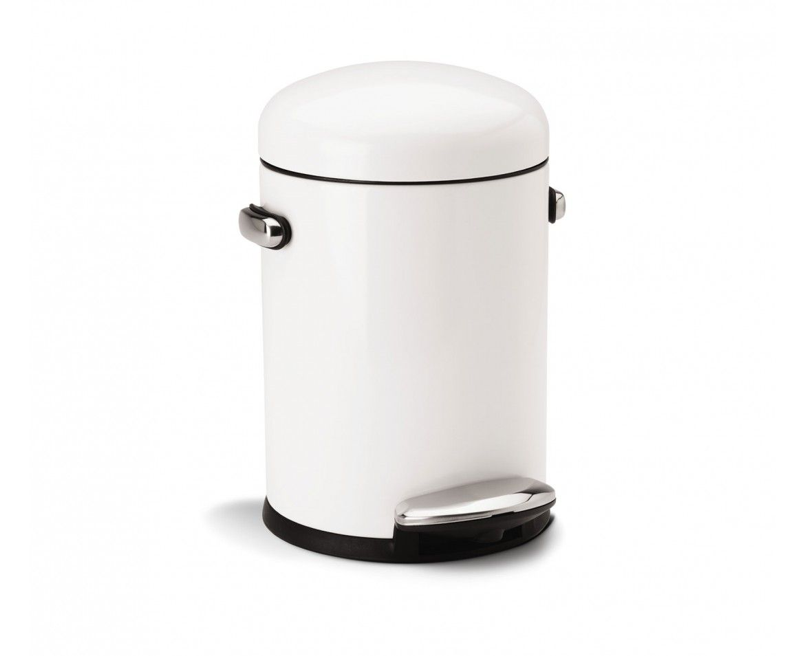 Simplehuman Round Retro Pedaalemmer 30 L Wit.Small Can Cabana Canning Bathroom Toilets Retro