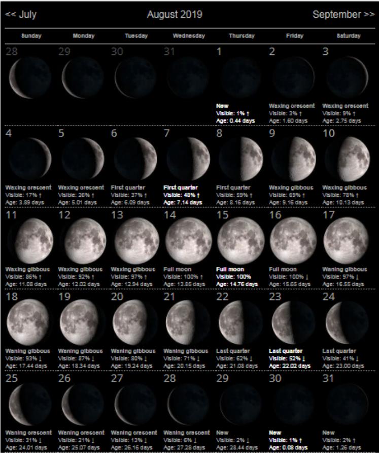 August 2019 Moon Phases Calendar Moon Phase Calendar Moon Calendar Lunar Calendar