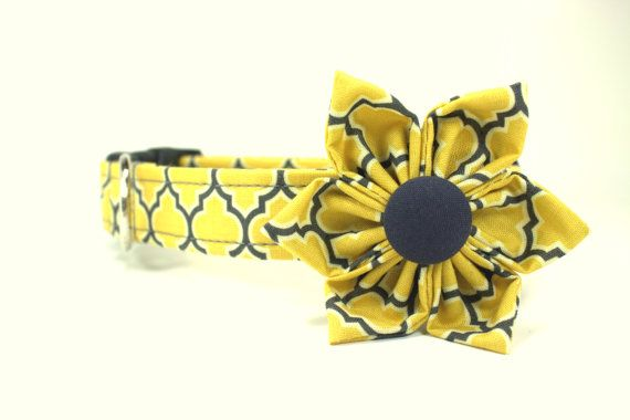 Lattice and Yellow Dog Collar and Collar Flower Set / Yellow and Gray Dog Collar / Made to Order
