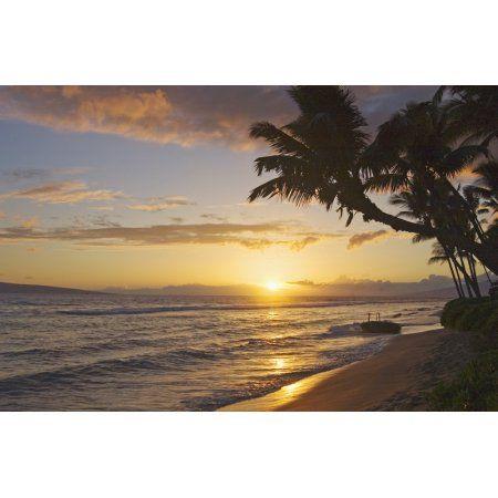 Hawaii Maui Kaanapali Resort Sunset With Beach And Palm Trees Canvas Art - Greg Vaughn Design Pics (17 x 11)