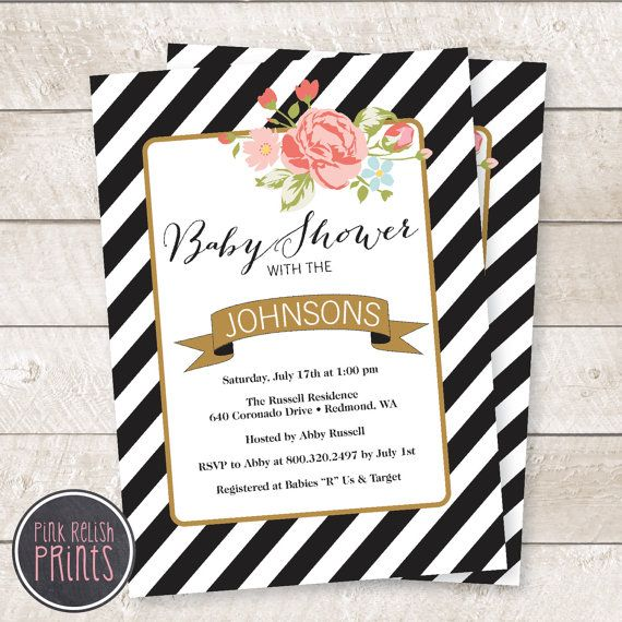 Floral Baby Shower Invitation Black And White By Pinkrelishprints Floral Baby Shower Invitations Baby Shower Invitations Floral Baby Shower