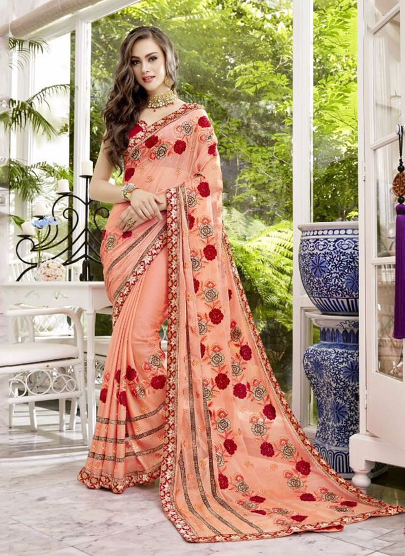 Peach Chiffon Party Wear Embroidery Work Saree Indian Wear In 2019