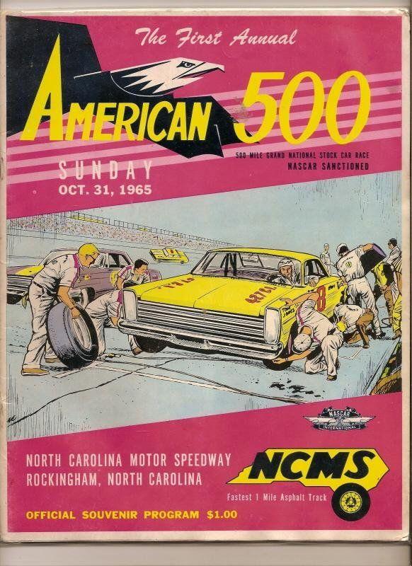 1965 American 500 Race Program Nascar 1st Annual