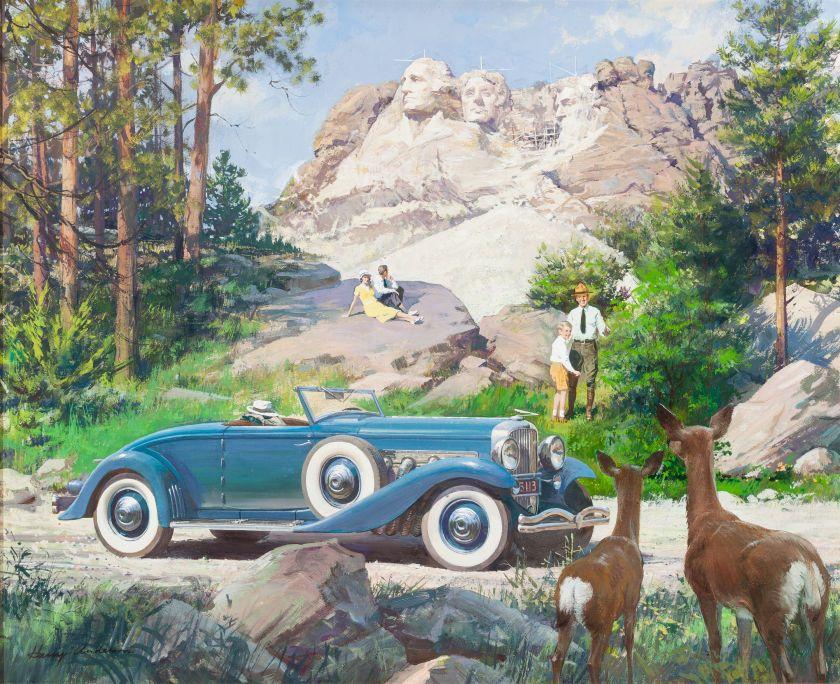 HARRY ANDERSON (American, 1906-1996). Mt. Rushmore NationalMonument, Black Hills, South Dakota, 1936 Duesenberg Model JN