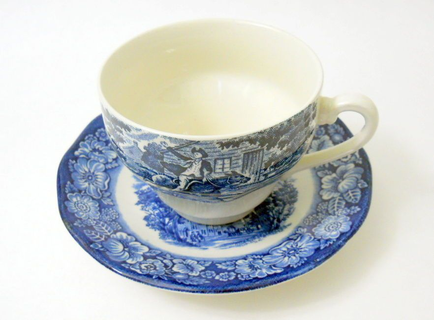 Staffordshire Liberty Blue Coffee Tea Cup + Saucer Old North Church Minute Men