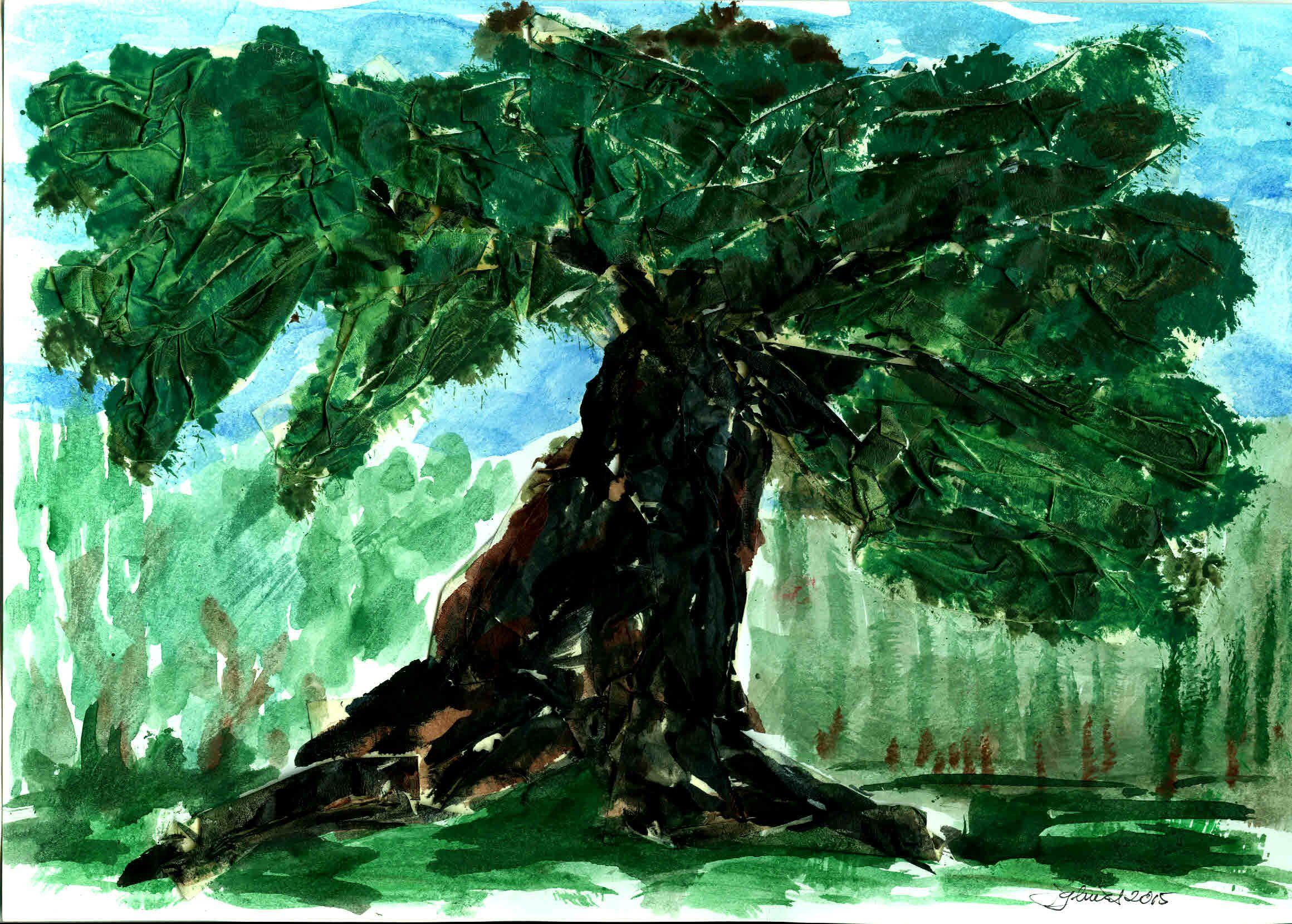 Viejo arbol tuledano. Pintado por JR Iglesias