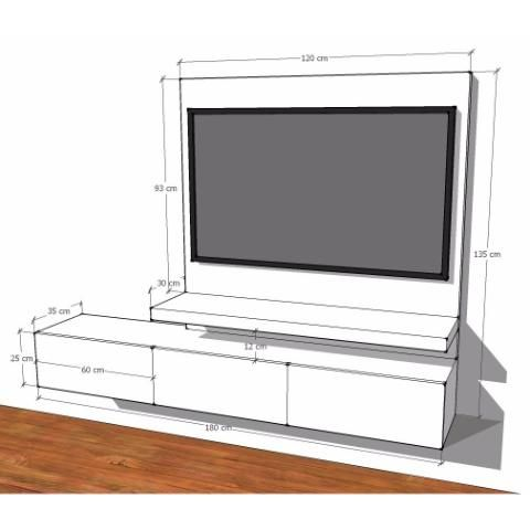 Mueble Para Tv Con Panel Para Ocultar Cables Ref Mural14 Decor