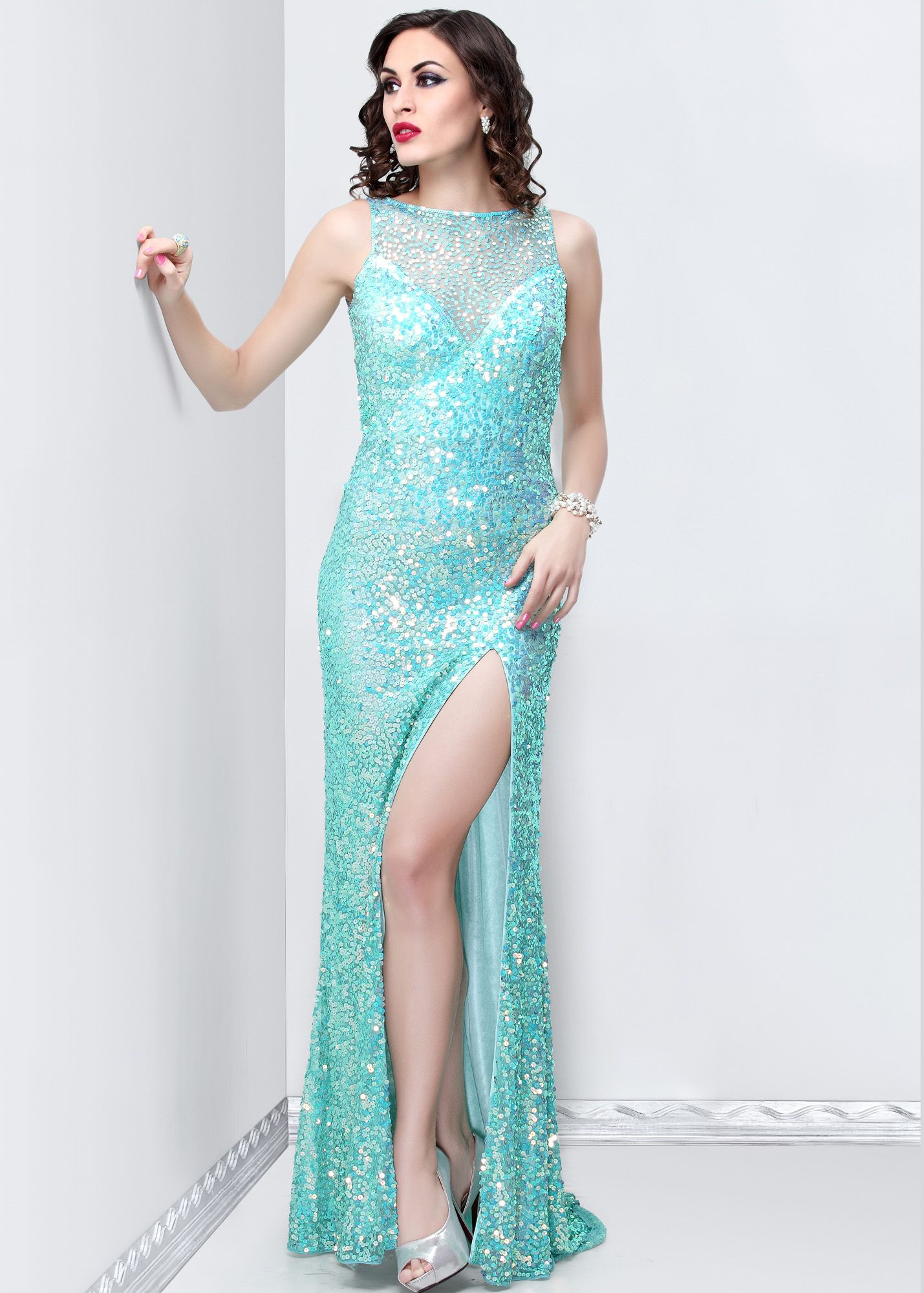 Primavera aqua high neck sequin prom dresses online