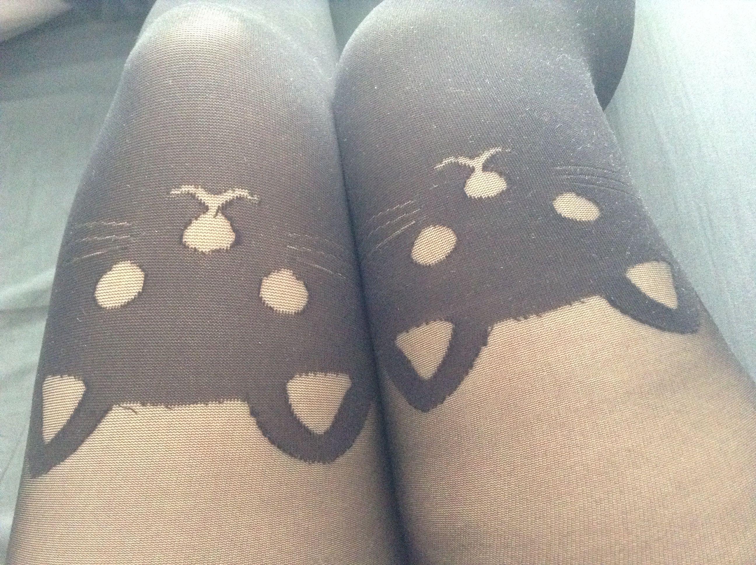 Mes collants chats que ma cousine m'a offert, je ne m'en lasse pas !