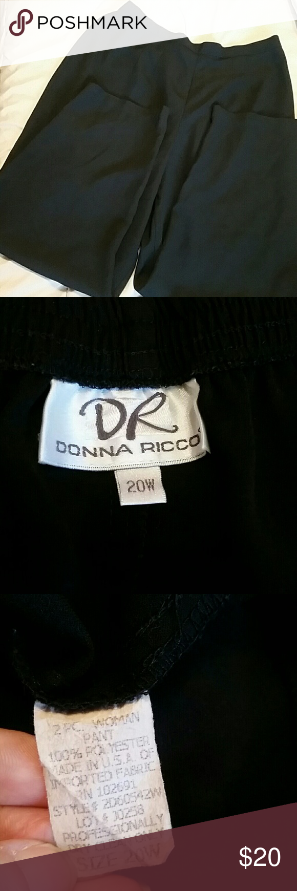 20W Donna Ricco polyester pants Beautiful, flowy black polyester pants. Look like a million for less!! Donna Ricco Pants