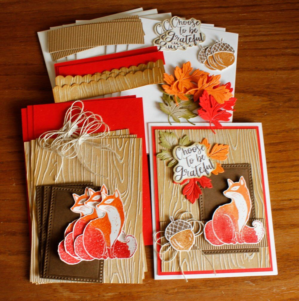 hand stamped thanksgiving card kit featuring a fox acorn