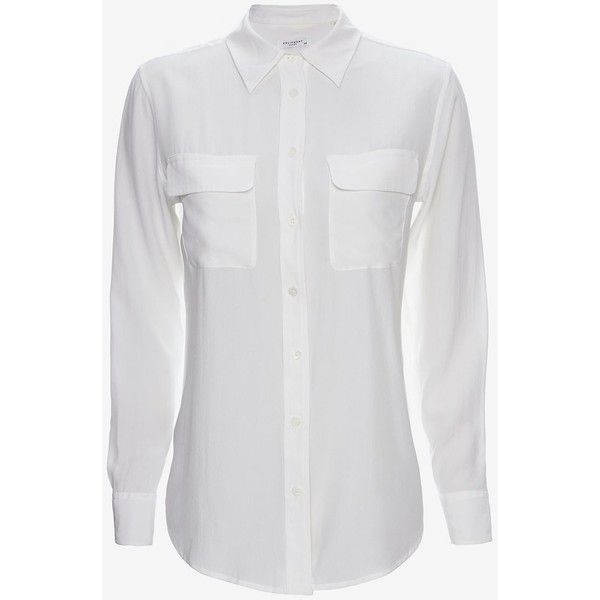 Equipment Slim Signature Double Flap Pocket Blouse: White (€195) ❤ liked on Polyvore featuring tops, blouses, shirts, white, white button down blouse, white shirt, shirts & blouses, button up shirts and white button up shirt