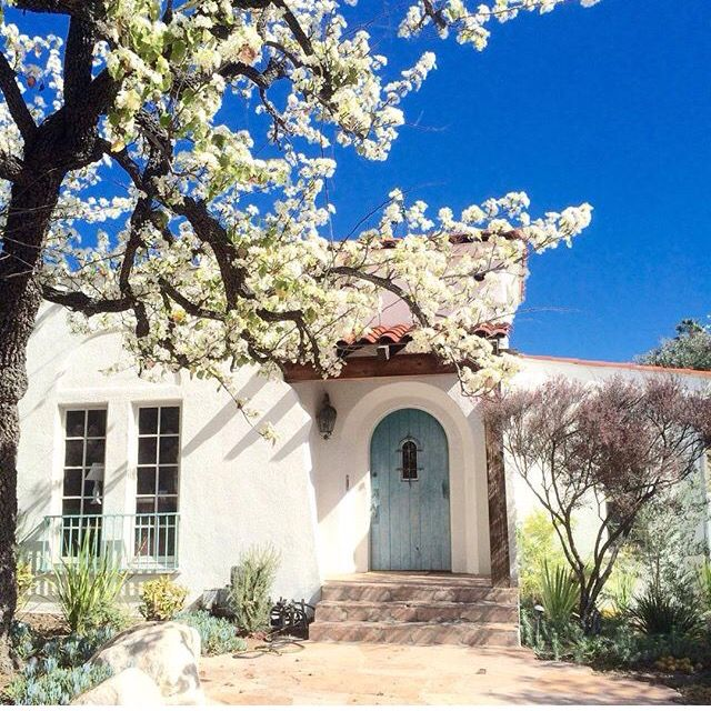 White Stucco Blue Door Stone Pavers Decor Etc In