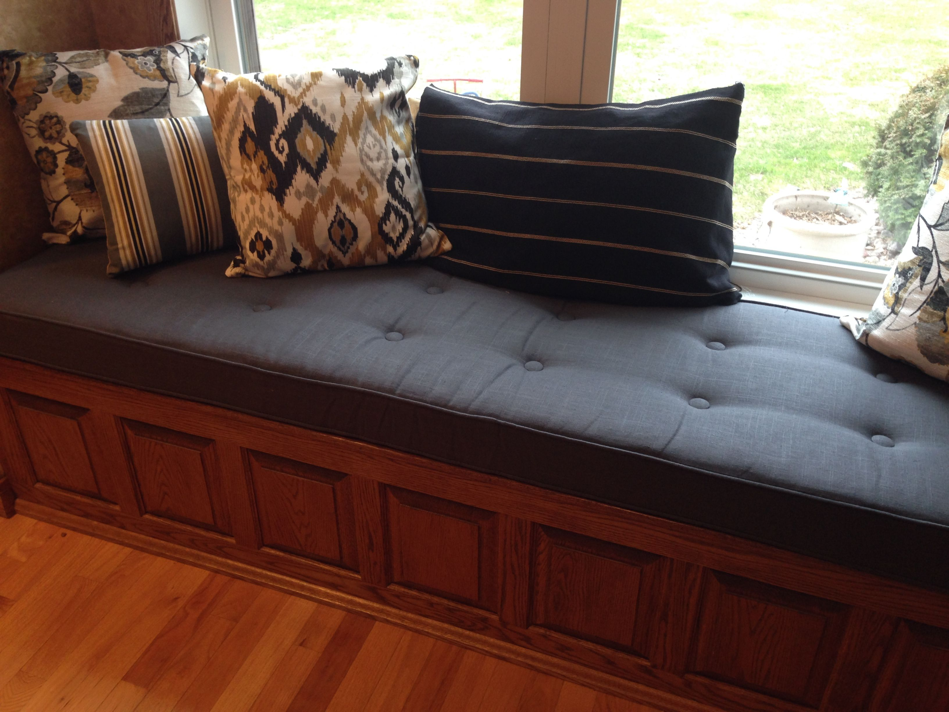 Custom Button Tufted Window Seat Cushion With Cording  Bench