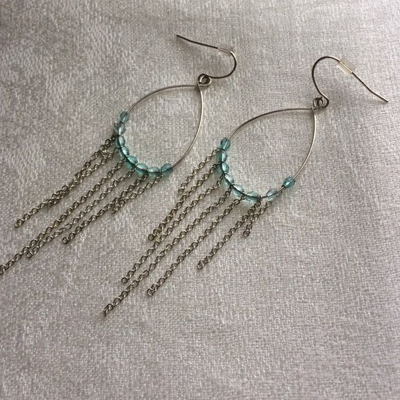 DANGLE EARRINGS Light blue and silver dangle pierced/fish hook earrings. Clean; never worn. Would bundle well with other items in my closet. Jewelry Earrings