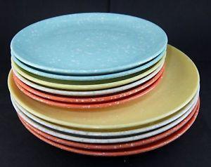 1950s era 11 pcs Vintage Speckled Melamine Plates (5 are 7-3/8 & 1950s era 11 pcs Vintage Speckled Melamine Plates (5 are 7-3/8 6 ...