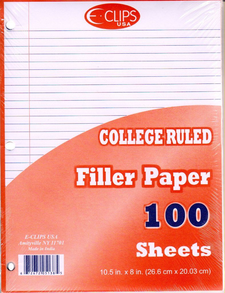 Wholesale Filler Paper College Ruled - 100 Sheets (Case of