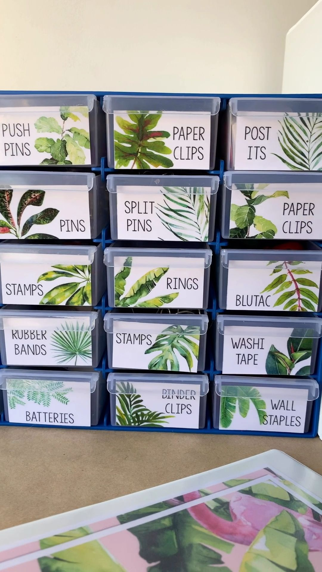 These easy to edit TROPICAL Teacher Toolbox Labels will keep your classroom organized this back to school! Made to match our TROPICAL Classroom Decor, choose from pages of different designs to organize all your office supplies and keep your desk drawers neat and tidy! #teachertoolbox #tropicalclassroom #tropicalteachertoolbox #tropicalclassroomdecor