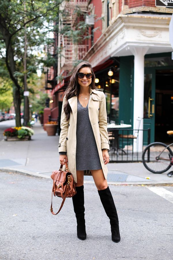 65ba31fb1727 Kat Tanita looks uber cute in a grey V neck sweater dress and a cream  trench coat. Dress  Calypso St Barth