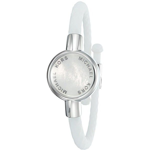 Michael Kors Access Silicone Tracker Bracelet (Silver) Watches ($95) ❤ liked on Polyvore featuring jewelry, bracelets, silver bangles, studded jewelry, snap button jewelry, silver jewelry and michael kors