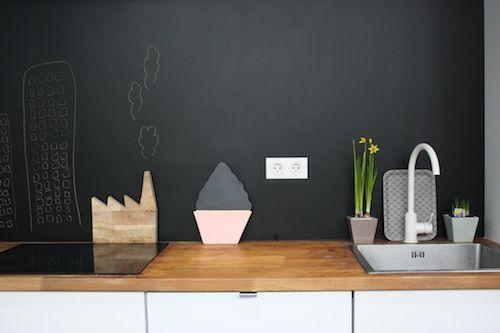 Tableau noir home peinture ardoise ardoise cuisine et ardoise - Peinture ardoise cuisine ...