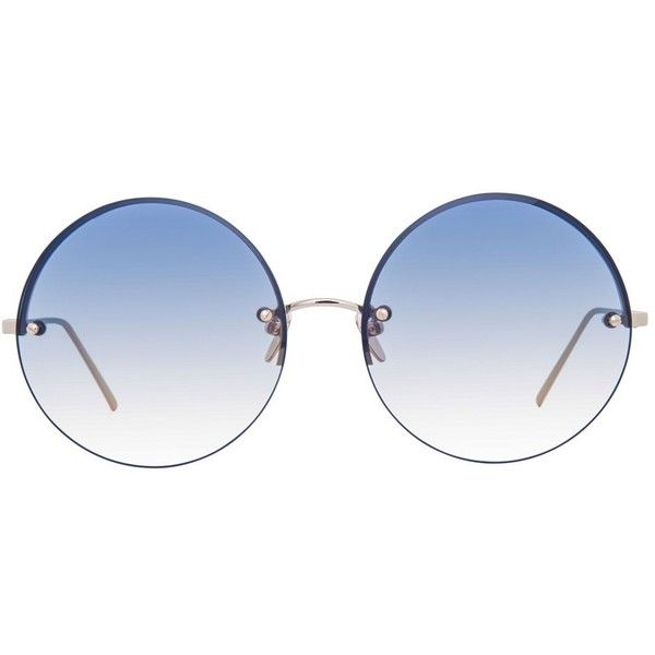 Linda Farrow 565 C6 Round Sunglasses (5.125 NOK) ❤ liked on Polyvore featuring accessories, eyewear, sunglasses, glasses, summer glasses, uv protection glasses, linda farrow sunglasses, linda farrow and round frame glasses