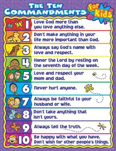 Catholic Ten Commandments For Kids : catholic, commandments, Commandments, Chart, Words, Would, Adapted, Catholic, Version...., Kids,, Bible, Study, Sunday, School