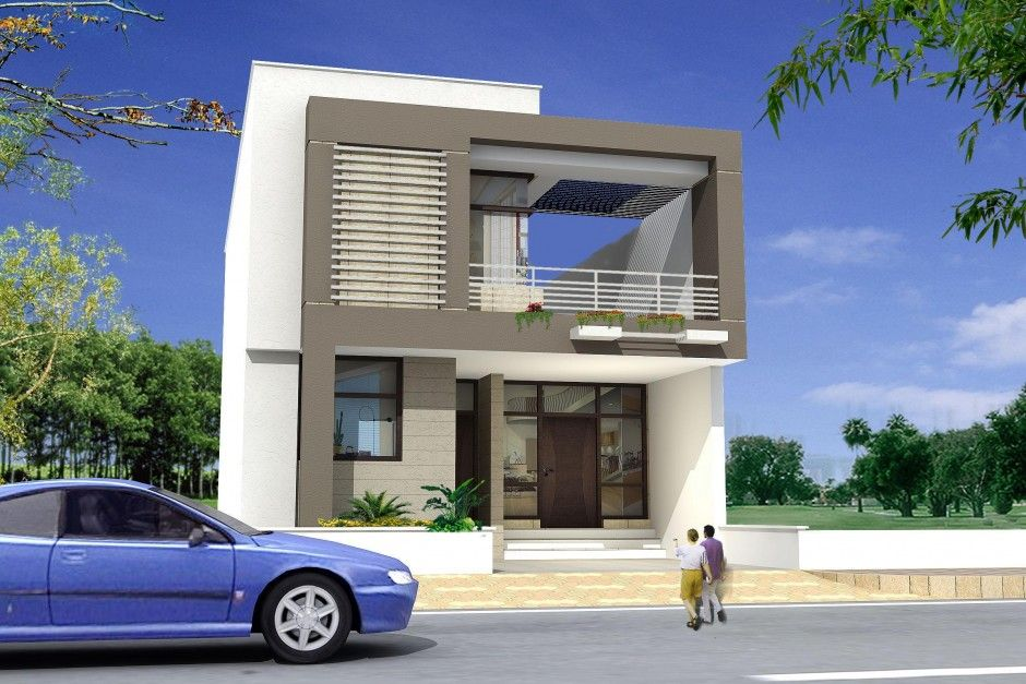 Architecture House Design Modern Minimalist Home Design With White Mixed  Gray Wall Colour Combination And Stunning Dark Brown Entry Door Also  Comfortable ...