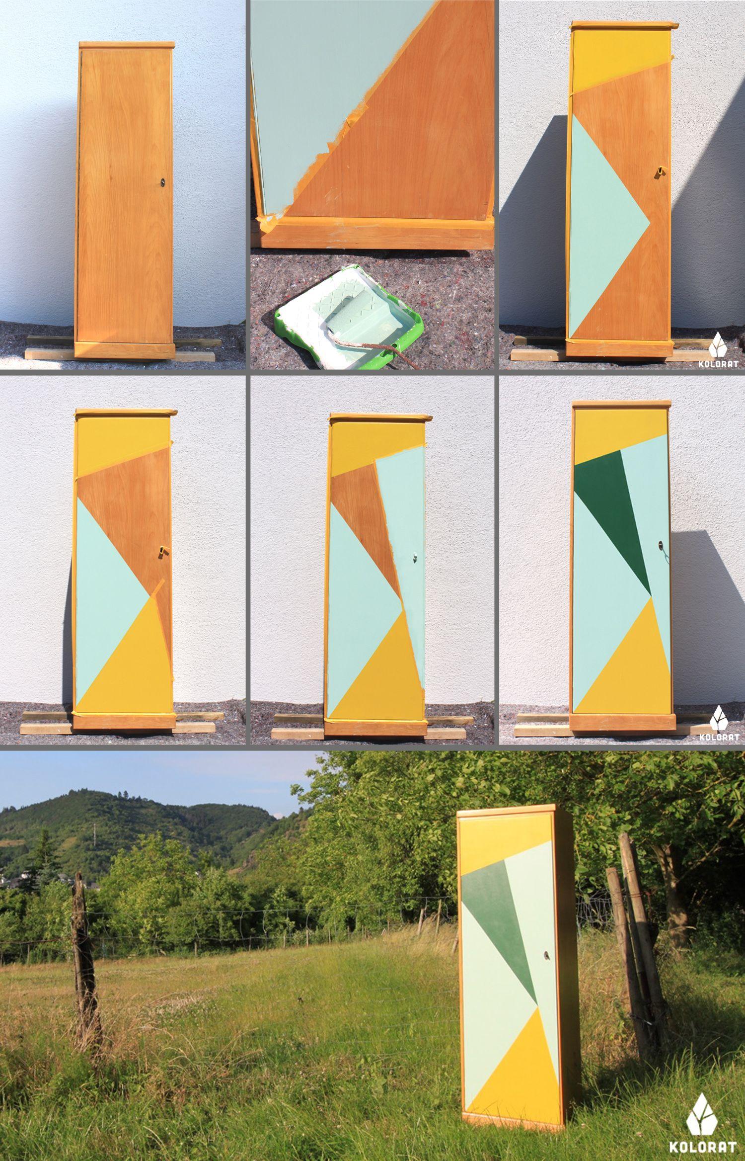 diy: schrank streichen mit geometrischen mustern. zum nachmachen