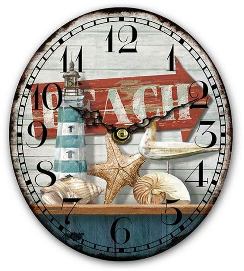 Beach Clock Oval Shaped