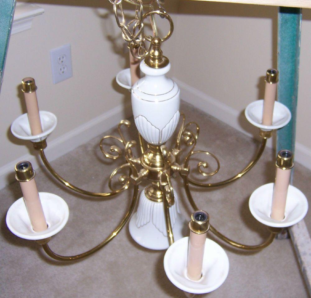 Vintage 7 light polished brass white lenox porcelain hanging vintage 7 light polished brass white lenox porcelain hanging candle chandelier arubaitofo Images