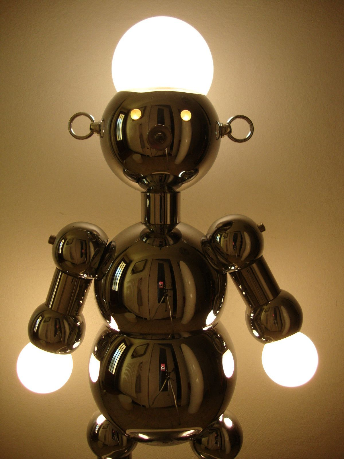 Huge Rare Vintage Mid Century Chrome Torino Robot Lamp 26 Eames Space Toy 1860 On Ebay Robot Lamp Lamp Space Toys