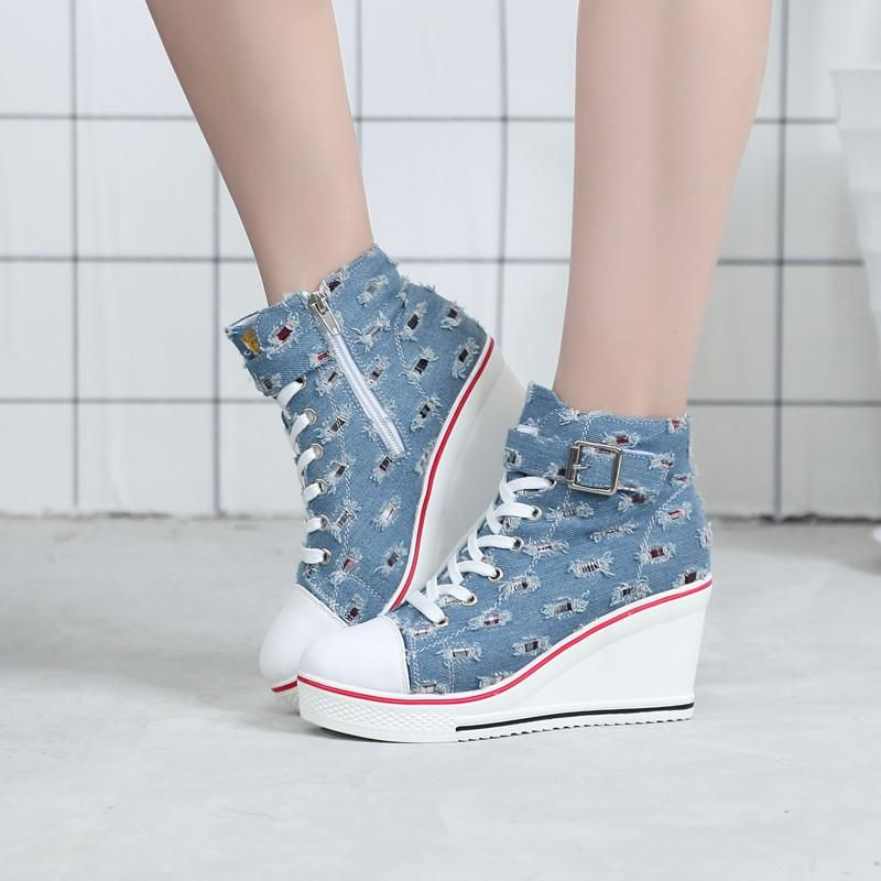34c9fa71c Breathable High Top Platform Shoes Women Canvas Shoes Summer Casual Denim  Shoe Ladies Trainers High Heel for Walking #womens #weddingdresses  #womensclothing ...