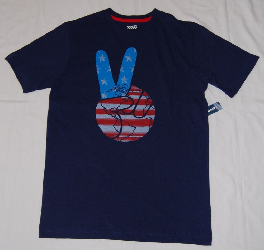 Wondrous Nwt Old Navy Boys Xl 14 16 Navy Blue T Shirt Peace Sign Earth Short Hairstyles Gunalazisus