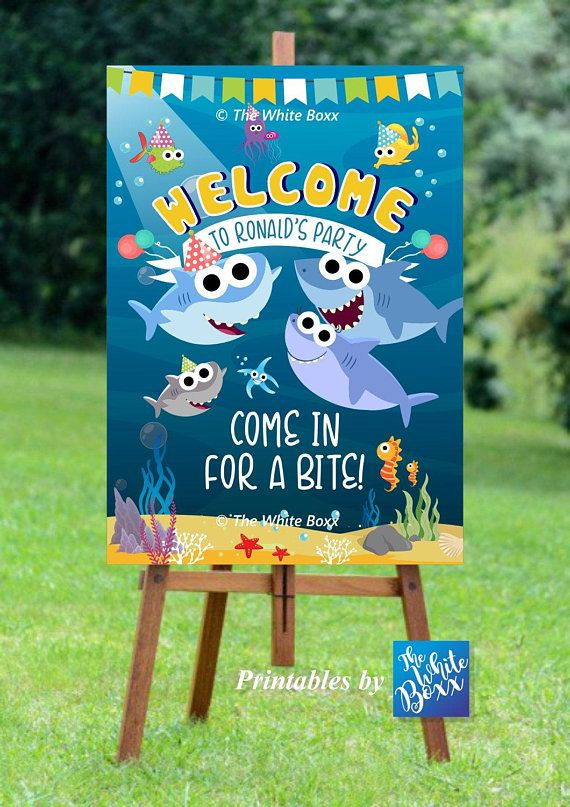 Baby Shark Welcome Board Birthday Welcome Sign Banner