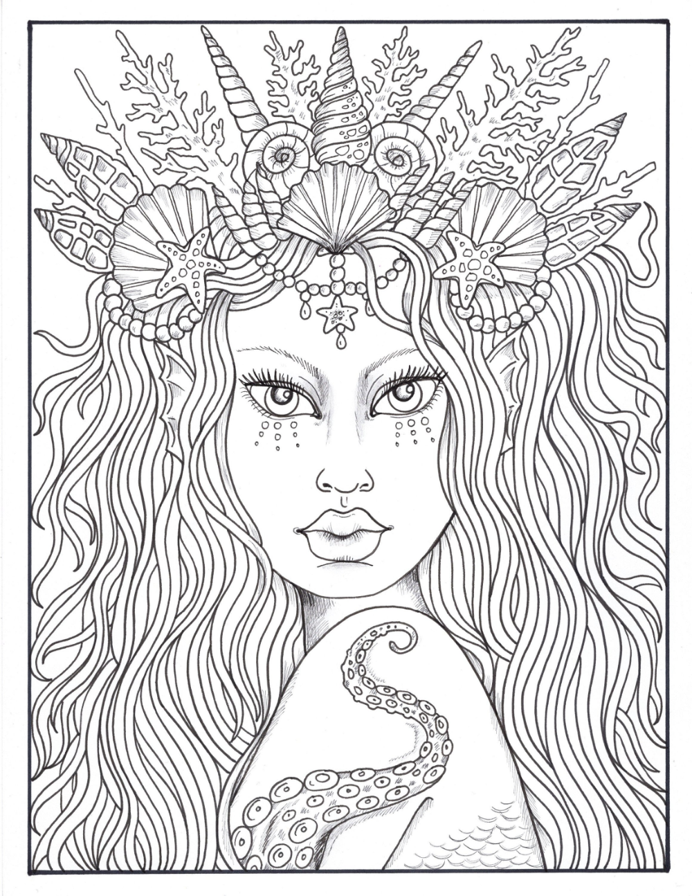 Mermaid Hair Queens of the Sea Digital Coloring mermaid ...