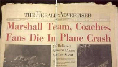 Herald Advertiser Headline Marshall university football