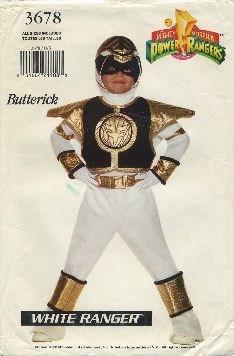 5ef84f49f Vintage Costume Sewing Pattern   Mighty Morphin Power Rangers™ White Ranger™    Butterick 3678