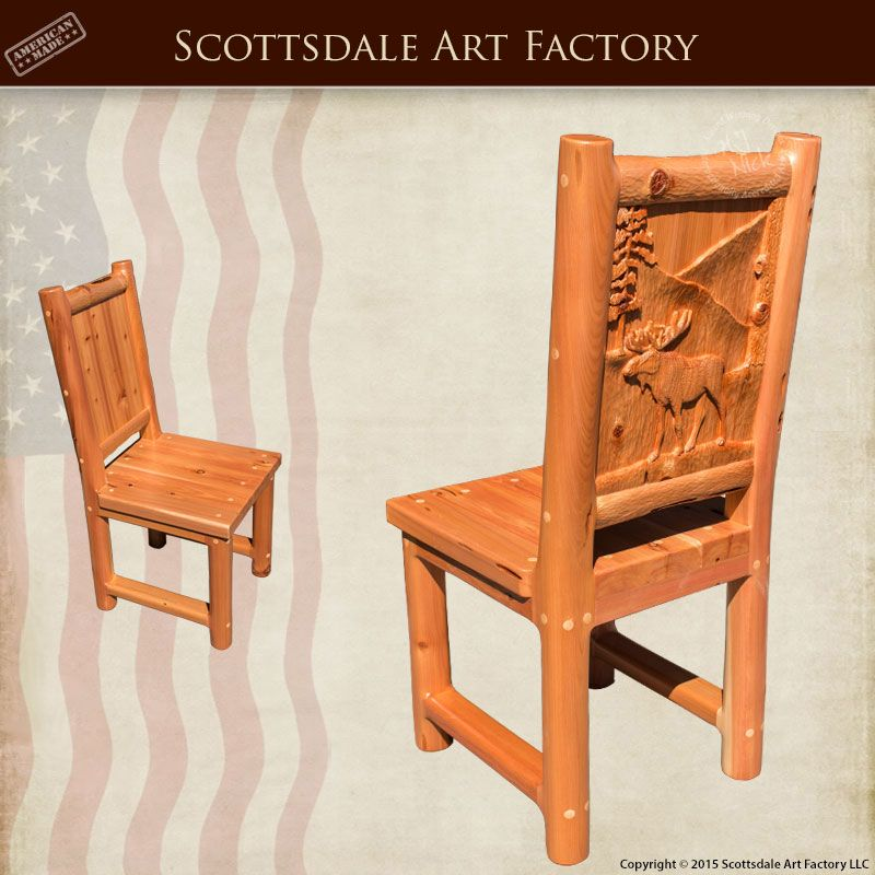 lodge style carved wood dining chairs hrc614a