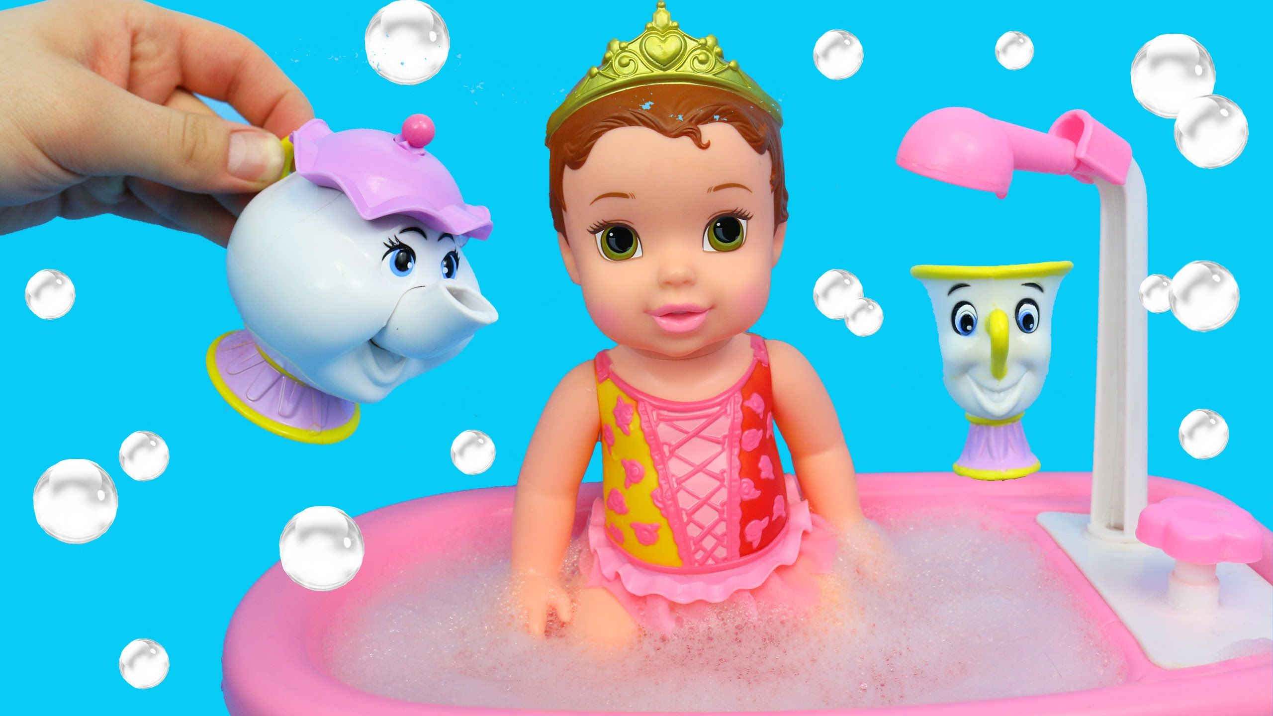 Disney Princess Belle Baby Doll Bath Time Bathtub Color Changers