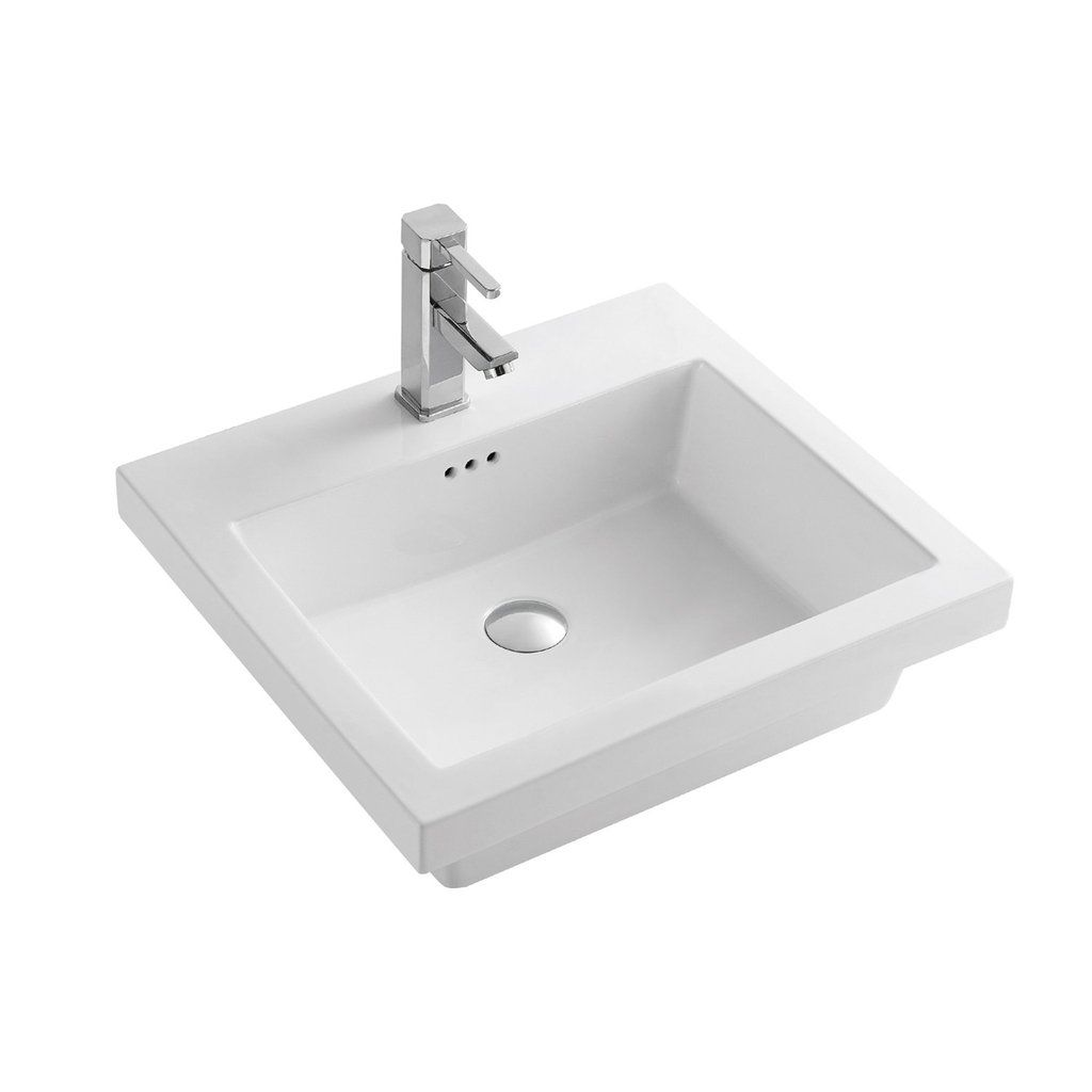 Dax Ceramic Rectangle Single Bowl Bathroom Vessel Sink White Finish 21 7 16 X 19 5 16 X 7 1 2 Inches Bsn Cl1241 Vessel Sink Sink Vessel Sink Bathroom