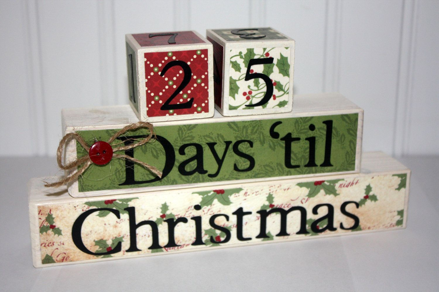 Countdown Til Christmas blocks Your choice of colors
