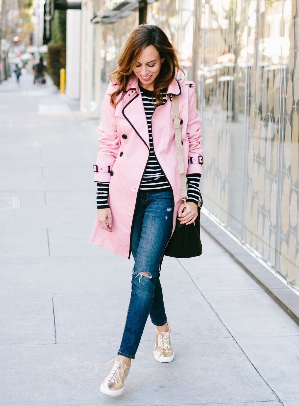 pink trench coat - Sydne Style  Making Weekend Wear Fun With Pink and Gold