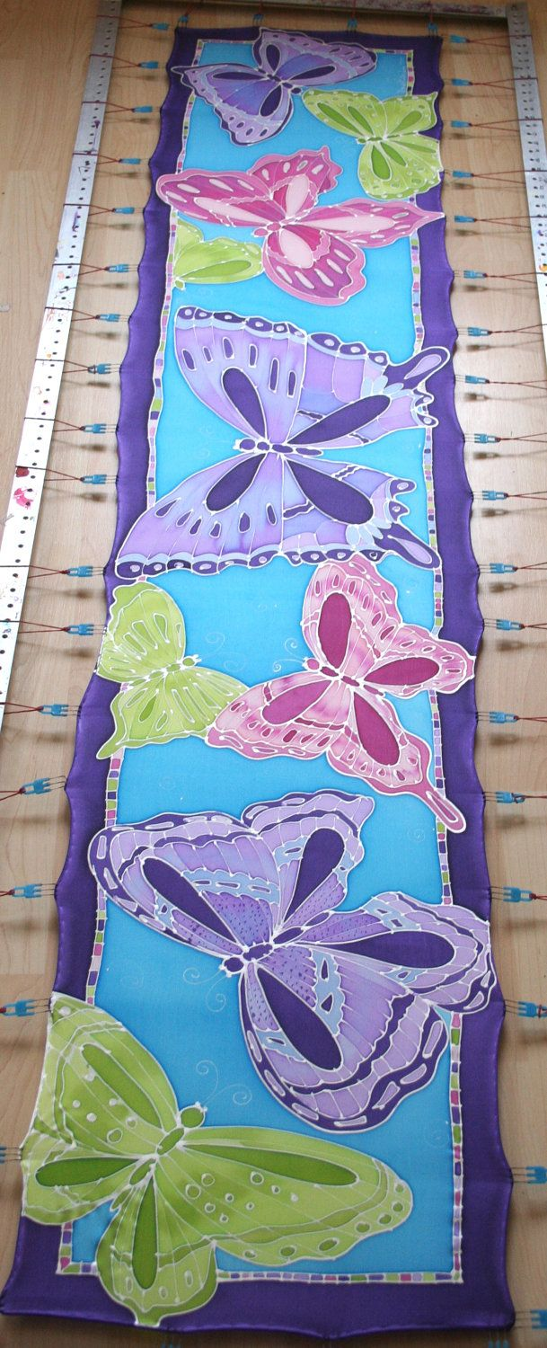 Hand Painted Silk Scarf. Butterfly Scarf. Blue, Pink, Purple. Natural History.. $60.00, via Etsy.